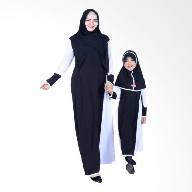 BajuYuli Baju Muslim Couple Gamis Ibu dan Anak - Hitam Putih