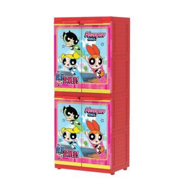 Naiba MSC Power Puff Girl Printing Plastik Lemari Pakaian Anak