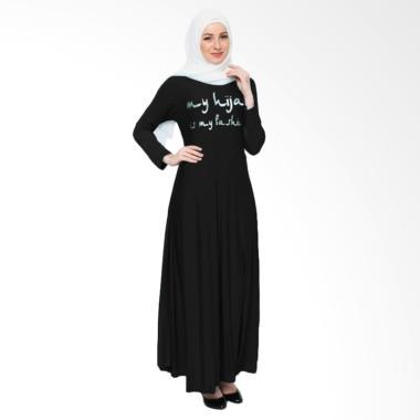 Okechuku Maxi Tangan Panjang Print  ...  Long Dress Gamis - Hitam