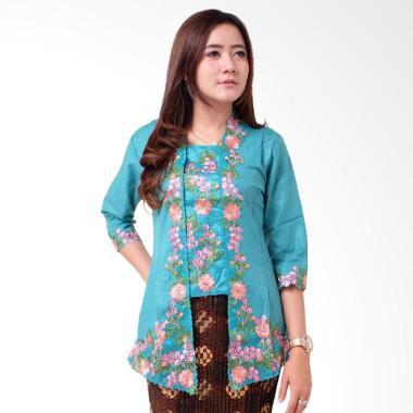 Batik Distro BA9111 Kebaya Wanita Kutu Baru Renda 3/4 - Biru