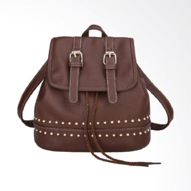 Fashion 0930020567 Knop Backpack Wanita - Brown
