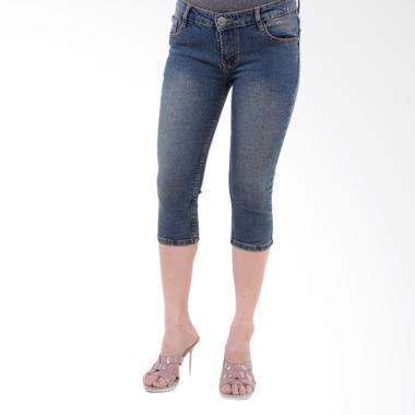JSK Jeans 7707 Pendek 7/8 Celana Jeans Wanita - Biru Tua