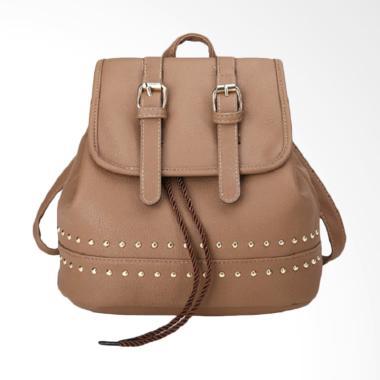 Fashion 0930020566 Knop Serut Tas Ransel Wanita - Mocca