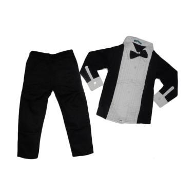 VERINA BABY Stelan Anak Kemeja White Black plus Dasi and Pants