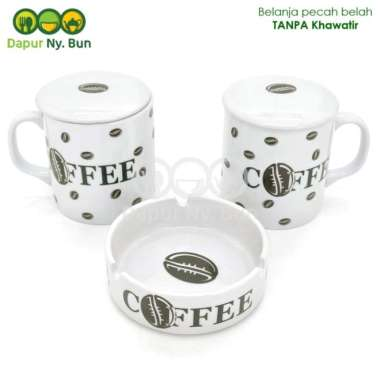 harga 2 Pcs Cangkir Tutup + Asbak Print Coffee - Mug Teh - Gelas Kopi Multicolour Blibli.com