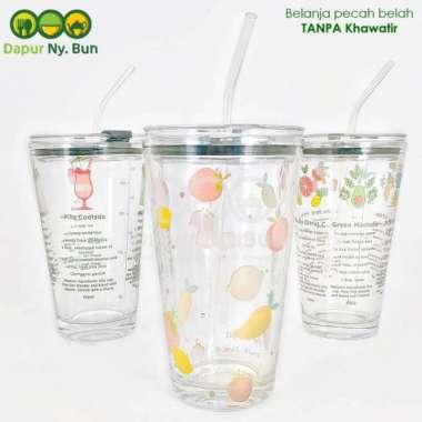 harga 1 Pc Premium Gelas Kaca Borosilikat + Tutup +FREE Sedotan Ukuran 450ml Multicolour Blibli.com