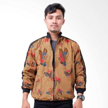 Batik Distro T1245 Kupu Panjang Batik Jaket Pria - Brown