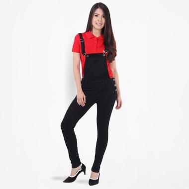JSK Jeans 1746 Skinny Overall Jumpsuits Wanita - Hitam