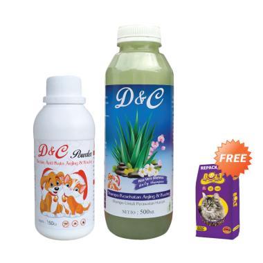 D&C Shampo Sehat & Bedak Anti Kutu  ... ucing BOLT Repack [500 g]