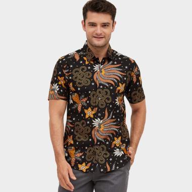Odza Swirl Kembang Kombinasi Kemeja Batik Pria