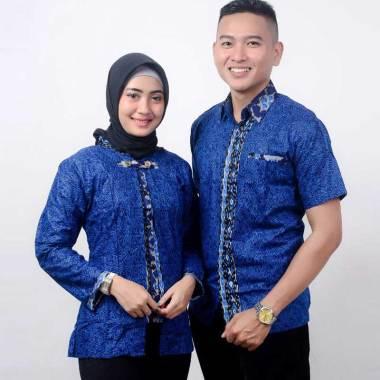 harga King Projo Motif Megamendung Baju Batik Couple - Biru Blibli.com