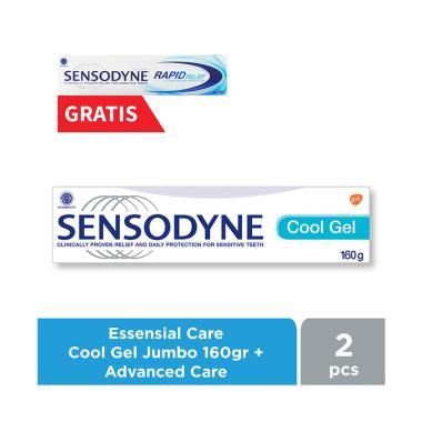 Sensodyne Essensial Care Cool Gel Pasta Gigi [Jumbo] + Free Rapid Relief  Advanced Care