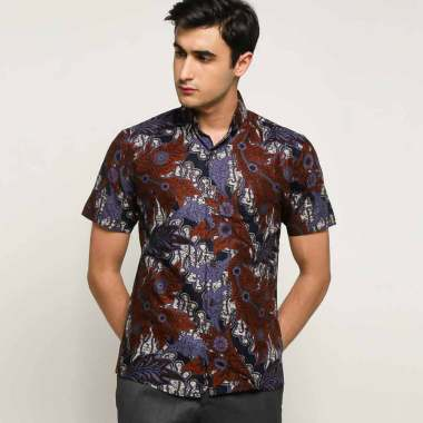 harga Batik Waskito Cotton Batik Culture Shirt Kemeja Lengan Pendek Pria - Navy [HB 186425J] Blibli.com