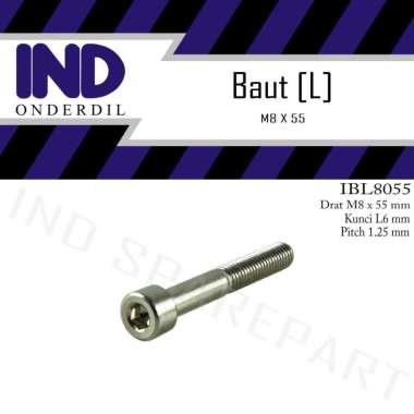 harga IND Onderdil Bolt L Baut Motor [M8 x 55/ Kunci L6/ Pitch 1.25] Blibli.com