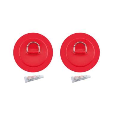 harga 2x Stainless Steel D-Ring Pad/Patch fits PVC Boat Dinghy Kayak Canoe w/Glue - Red Blibli.com
