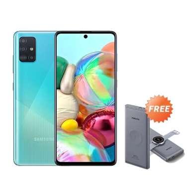 harga Samsung A71 [8GB/128GB] Free Samsung Powerbank Wireless 10000 mAh 25W - Garansi Resmi Blue Blibli.com