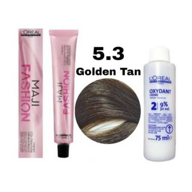 harga L'oreal majifashion 5.3 golden Tan, hair color 4.3 60ml + oxidant 9% 75ml Blibli.com