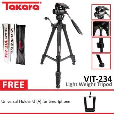 harga TAKARA VIT-234 Video Tripod Fluid Head LightWeight Camera + Holder U A Black Blibli.com