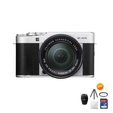 harga Fujifilm X-A5 KIT 15-45mm Kamera Mirrorless Free Screenguard + Memory SDHC 16GB+ MIni Folding/ Gorillapod+ Filter UV+ Tas Universal- Ladang silver Blibli.com