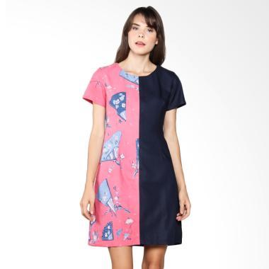 Karya Batik Panelled Dress PD - Pink Blue