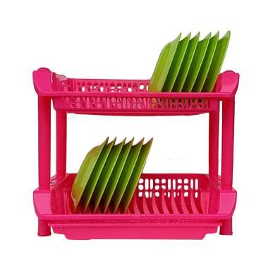 Shinpo Plastik Rak Piring - Pink [2 Susun]