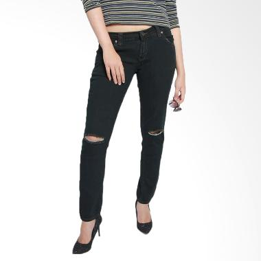 2ndRED 117707 Straight Ripped Jeans Wanita - Light Black
