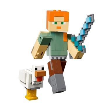 LEGO Minecraft 21149 Minecraft Alex BigFig with Chicken Blocks & Stacking  Toys