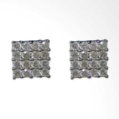 Jual Bondo Kotak Emas Putih Asli Anting [Kadar Emas 75%/ 1.3 Gram] Online - Harga & Kualitas