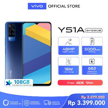 harga Vivo Y51 8GB/128GB - 48MP Night Camera, 665 Qualcomm Snapdragon, 5000 mAh + Free Grab Voucher 50K only on 10 - 14 December Titanium Sapphire Blibli.com