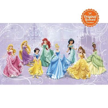 disney wallpaper for bedrooms. disney princess royal chair rail mural wallpaper wall sticker for bedrooms