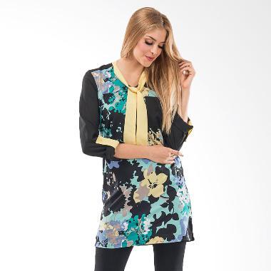 Beyounique 3/4 Sleeve Printed Tunic Atasan Wanita - Yellow Green