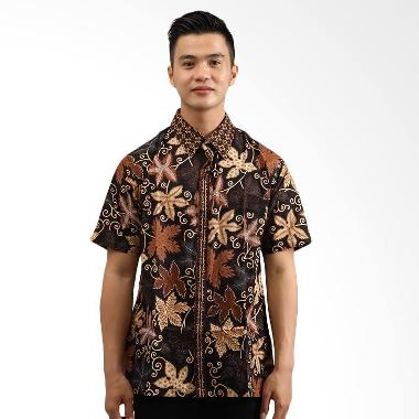 Adinata Batik Daun Hem Batik Lengan Pendek Coklat