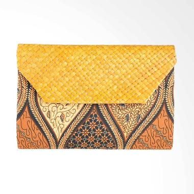 Papercut Bags Arn013 Batik Mix Anyaman Pandan Sogan 1 Clutch - Brown