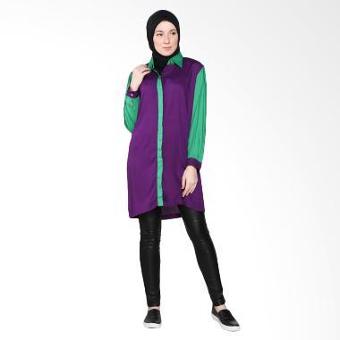 Rauza Rauza Twotone Shirt Atasan Muslim - Ungu Hijau