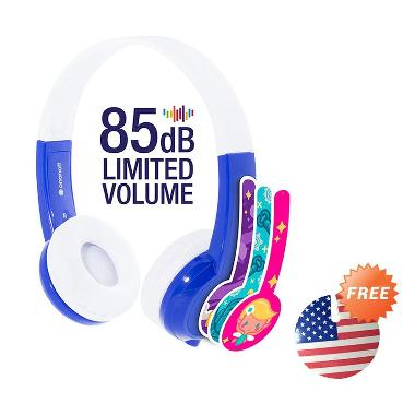 Buddyphones Standard Headphone - Blue + Cable Management USA Flag