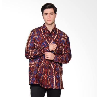 Danar Hadi Panjang Print Tameng Wojo Kemeja Batik - Blue mix Red