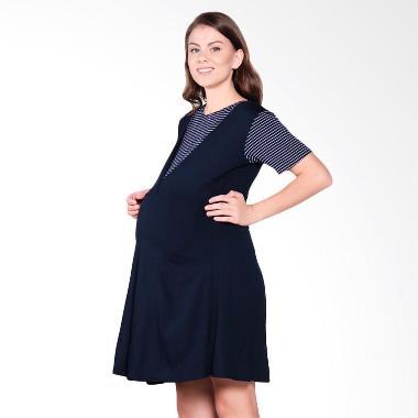 Mamigaya Hilda Salur Putih Baju Hamil - Navy