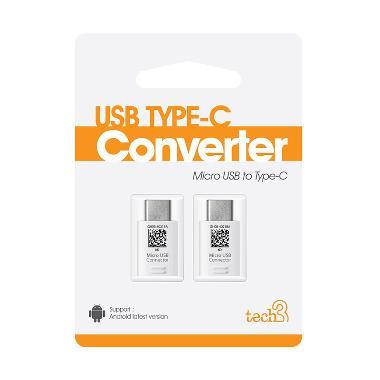 Fonel Micro USB Type C Connector - White [Beli 1 dapat 2 Connector]