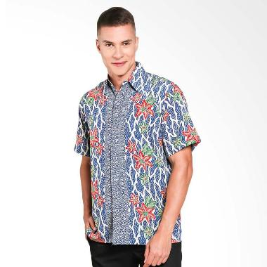 Batik Waskito Short Sleeve Shirt Kemeja Batik Pria - Blue