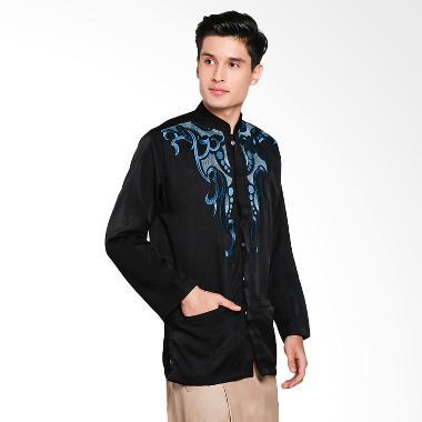 Papercut Muslim Danika Embos Baju Koko Pria - Blue Black