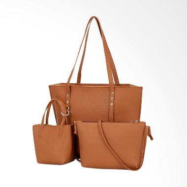 KarnaKamu Premium 3 In 1 Tote Bag Wanita - Brown