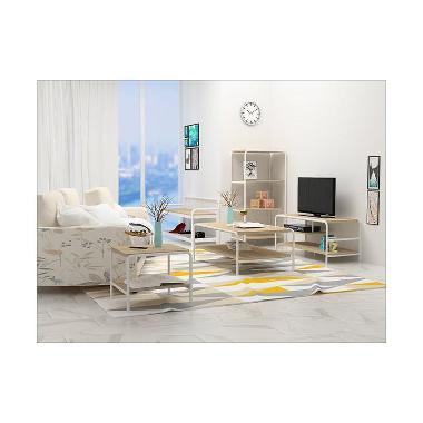 Zyo Jeju Series Living Room Set  - Sonoma Oak White [5 pcs]