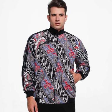Batik Distro Motif Batik Lengan Strip Jaket Pria - Biru [T1280]