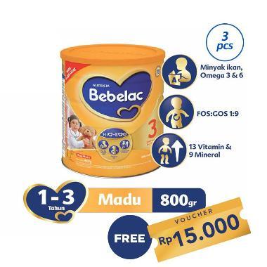 Bebelac 3 Madu Susu Formula [800 g/ 3 pcs] + Free Kupon Rp 15.000