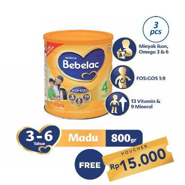 Bebelac 4 Madu Susu Formula [800 g/ 3 pcs] + Free Kupon Rp 15.000