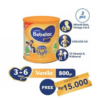 Bebelac 4 Vanila Susu Formula [800 g/ 3 pcs] + Free Kupon Rp 15.000