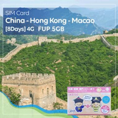 harga SIM Card China - Hongkong - Macau [8 Days] 4G - FUP. 5GB Blibli.com