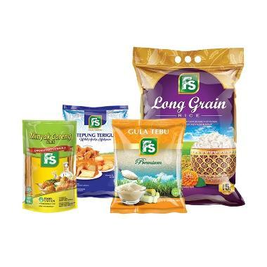 Paket Sembako - FS Beras Long Grain [4 kg] + FS Gula Pasir Kuning Premium [1 kg] + FS Tepung Terigu [1 kg] + FS Minyak Goreng Super [900 mL]