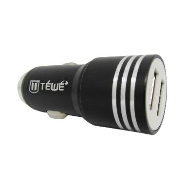 a83e7fd8100c TEWE Saver Car Charger - Hitam  2 USB  2.1A   1A