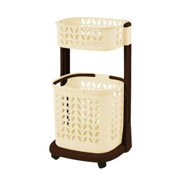 Rovega RLB-200 Laundry Basket 2 Level Keranjang - Cream
